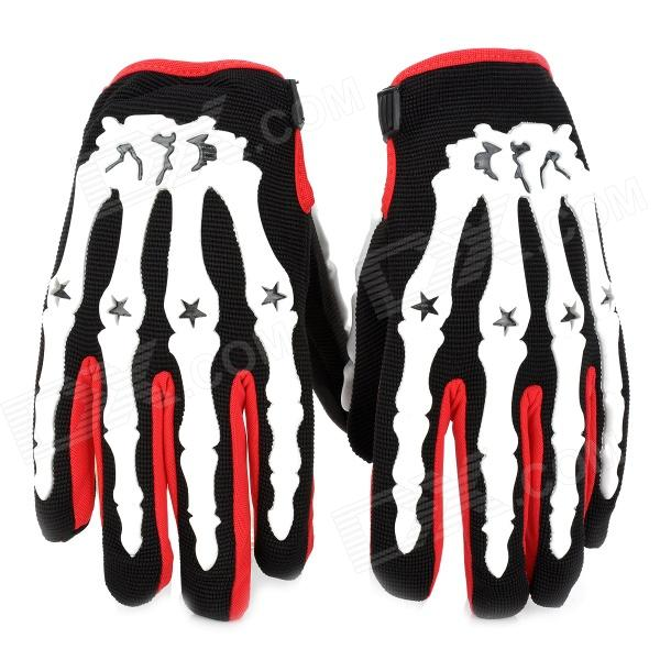 PRO-BIKER CE04 Skeleton Breathable Full Finger Motorcycle Racing Gloves - Red (Size-XL / Pair)