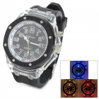 SANDA FG-1014B Rubber Band Quartz Wrist Watch w/ 7-LED Colorful Flashing Light - Black (2 x 377)