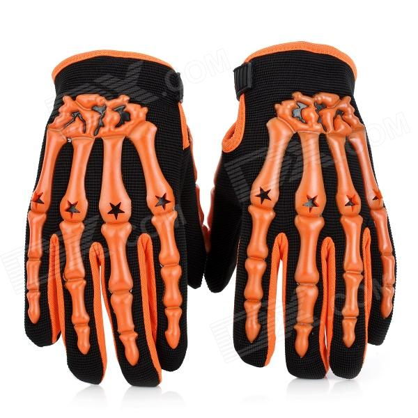 Rubber Skeleton Style Motorcycle Racing Full-Finger Gloves - Orange + Black (L / Pair) - DXMotorcycle Gloves<br>Quantity 2 piece(s) Type Gloves Material Breathable fabric + super fiber + rubber + flannelette Color Orange + black Size L Hand Around 20 cm Palm Width 10 cm Other Features Do you usually ride motorcycle for long time? If you did you should choose this kind of motorcycle riding protective gloves to protect your hands and keep your hands from the cold air. This is not common gloves because thickened and good woolen lining has the protection from the wind and the rain whats more special artificial treatment keeps your hands comfortable. Moreover it has a great durability and abrasion resistance. To enjoy the riding with the professional motorcycle riding protective gloves; Velcro closure around wist; Good breathable and skidproof; A necessary gear for riding; Full-finger design protect your fingers and palm; Special ergonomic design with carbon fiber hard shell protection taking into account aesthetics and security Packing List 2 x Gloves<br>
