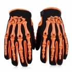 Rubber Skeleton Style Motorcycle Racing Full-Finger Gloves - Orange + Black (L / Pair)