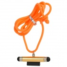 Double Contact Stylus w/ Neck Strap for iPhone 4 / 4S / iPod - Golden + Orange