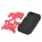 Double Layer Skull Pattern Protective Detachable Silicone + PC Back Case for Iphone 5 - Rose Red
