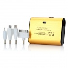 Power Bank 5000mAh Mobile External Battery Charger w/ 1-LED Flashlight / 4 Adapters - Golden + Black
