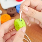 Soft Silicone Button Style Earphone Cable Wire Winder Organizer - Green