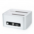KIMAX BS-HD07 U2 USB 2.0 to ESATA Dual Bay SATA HDD Docking Station - Silver + White