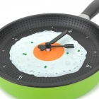Creative Frying Egg Pan Style Wall Clock - Green + Black
