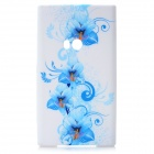 Flowers Pattern Protective Silicone Back Cover Case for Nokia Lumia 920 - White + Blue