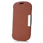 Protective PU Flip-Open Case w/ Stand + Magnet for Samsung S3 Mini - Brown