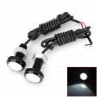 LY157 3W 150lm Eagle Eye White Light LED Car Daytime Running Light - (DC 12V / 2 PCS / 70cm-Cable)