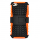 Protective Plastic Case w/ Foldable Holder for Iphone 5 - Black + Orange