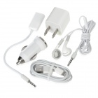 5-in-1 AC 2-Flat-Pin Charger + Car Charger + Earphone + USB Cable + 3.5mm Cable Kit for iPhone 5