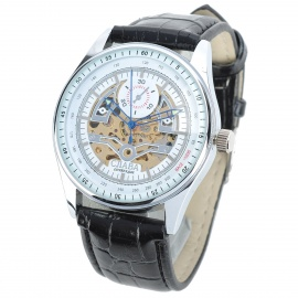 CJIABA GK8005-W Artificial Leather Band Hollow-Out Mechanical Wrist Watch for Men - Black + White