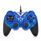 Topway TP-U525 Dual-Shock Plastic Wired USB Gaming Grip - Blue + Black (160cm-Kabel)