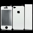 Protective Front + Back + Frame Guard Stickers Set for iPhone 4 / 4S - White