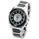 daybird 3738 Ceramic + Stainless Steel Band Quartz Wrist Watch w/ Crystal- Black + Silver