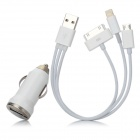 Car Charger + USB auf 8-Pin Blitz + 30-Pin/P1000 + Micro USB Kabel für iPhone 5/Samsung - White