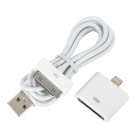 8-Pin Lightning Male to 30-Pin Female Adapter w/ USB Cable for iPhone 5 - White (100cm)
