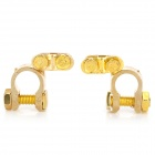 Copper Car Battery Terminals Clamps Connectors - Golden (2 PCS)
