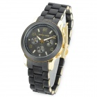 MICHAEL KORS GP-4011 Stainless Steel Rubber Band Analog Display Quartz Wrist Watch - Golden + Black