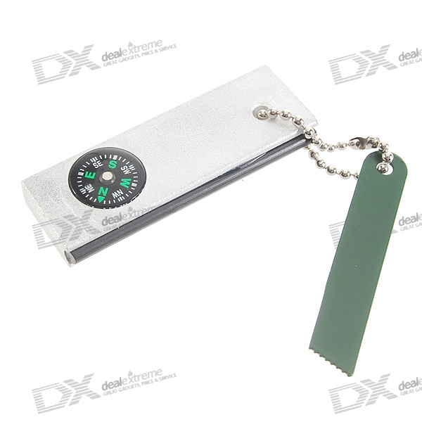 Wilderness Survival Keychain (Fire Sparkle + Blade Cutter Tool + Compass)
