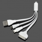 3-in-1 USB 30-Pin Charging Cable w/ Mini USB / Micro USB for iPhone 4 / 4S / Samsung / HTC - White