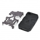 Skull Style Protective Detachable Silicone + PC Back Case for Iphone 4S - Black