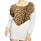 YLY-A3645 Women's Fashion Sexy Leopard Pattern Round Neck T-Shirt - White