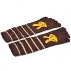 Rabbit Pattern Comfortable Cotton Five Fingers Toe Socks - Brown + Yellow (Pair)