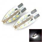 PointPurple F924WW T10 2.4W 240lm 24-SMD 3014 LED White Light Car Lamps (DC 12V / 2 PCS)
