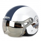 BEON a5 Cool Harley Dual Face-shield Motorcycle Outdoor Sports Racing Half Helmet - White + Blue