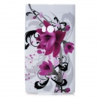 Flowers Pattern Protective Silicone Back Cover Case for Nokia Lumia 920 - White + Purple