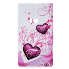 Loving Heart Pattern Protective Soft-Silikon-Hülle für Nokia Lumia 920 - White + Purple