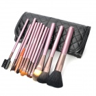 MEGAGA Professional 12-in-1 Yellow Wolf Hair Cosmetic Brushes Set w/ Carrying Bag - Black + Purple