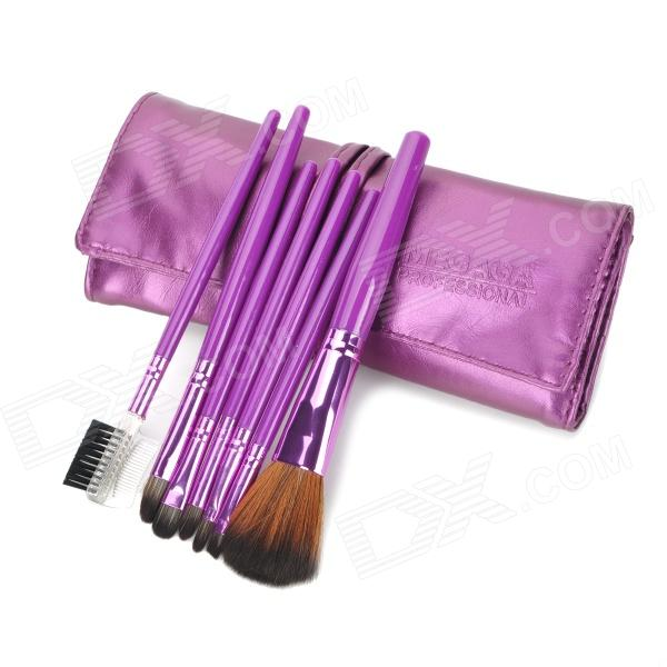 MEGAGA Professional 7-in-1 Nylon Fiber Cosmetic Brushes Set w/ Bag - Purple megaga professional beauty cosmetic makeup brush set with bag 9 pcs