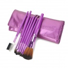 MEGAGA Professional 7-in-1 Nylon Fiber Cosmetic Brushes Set w/ Bag - Purple
