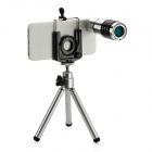 10x Zoom Telescope Lens w/ Tripod / Back Case Set for Iphone 5 - Black + Silver
