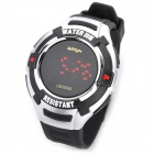 Multifunction PU Band Digital Wrist Watch w/ 7-Color LED Flashing Light - Black
