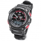 Sports Diving PU Band Dual Time Display Wrist Watch w/ EL Backlit / Compass - Black + Red