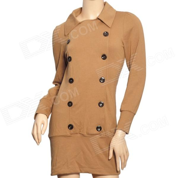YLY-A3610 Fashion Double-Breasted Double-Collar High Elasticity Cotton Dress - Brown