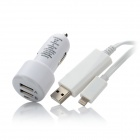 USB Data / Charging 8-Pin Blitz EL Light Cable + Car Charger für iPhone 5 / iPad 4 / Mini - White