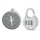 Household Compass + Resettable Combination Padlock - Black + Silver