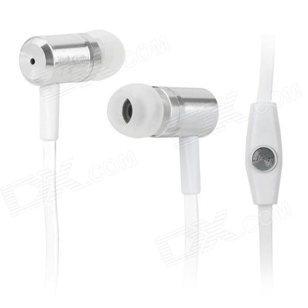 Wallytech WHF-110 In-Ear Earphone w/ Microphone for Iphone 5 - Silver (3.5mm Plug / 126cm-Cable) wallytech whf 099 3 5mm plug in ear style stereo earphones w microphone blue 120cm