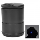 Car Cigarette Ashtray with Blue LED Light - Black