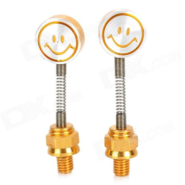 Cute DIY Motorcycle Spring Smile Face Dummy Rearview Mirror - Golden + Silver (2 PCS) светильник потолочный arte lamp technika a5930pl 1wh