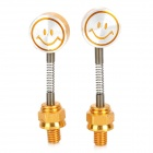 Cute DIY Motorcycle Spring Smile Face Dummy Rearview Mirror - Golden + Silver (2 PCS)