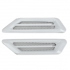 Universal Air Flow Vent Hood Covers for Car - White + Silver (Pair)