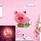 NO-HYQD002 E14 Cute Cartoon Pig 15W Night Wall Light - Pink (2-Flat-Pin Plug / 220V)