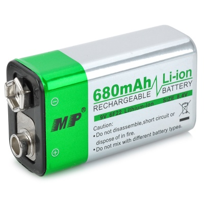 MP Rechargeable 680mAh 9V 6F22 Li-ion Battery