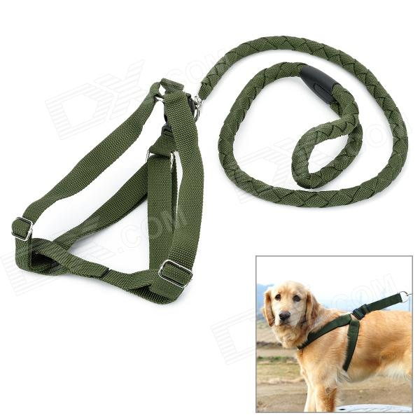 Adjustable Collar Strap Big Dog Pet Leash - Army Green (120cm-Length) adjustable nylon strap leash for pet dog black