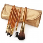 MEGAGA Professional 7-in-1 Nylon Fiber Cosmetic Brushes Set with Bag - Golden Brown